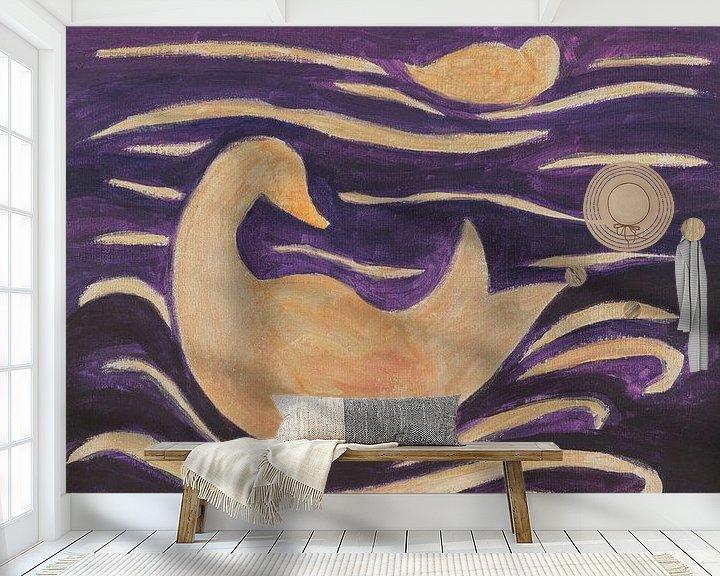 Sfeerimpressie behang: eenden in de golven van Verbeeldt