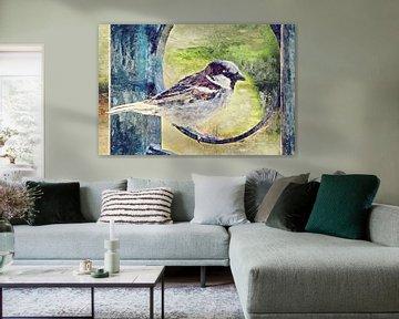 Der Haussperling (Gemälde) von Art by Jeronimo