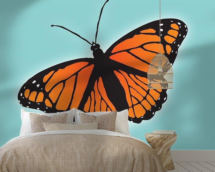 Sfeerimpressie behang: Oranje vlinder van Bianca Wisseloo