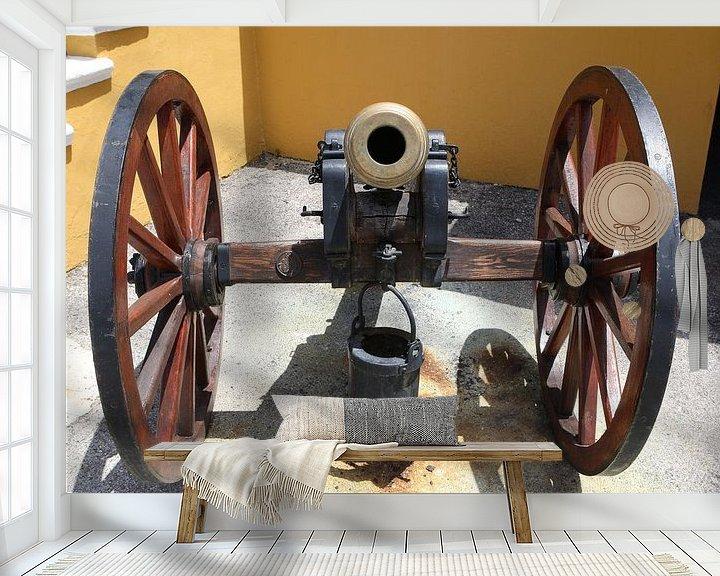 Sfeerimpressie behang: kanon bij fort amsterdam willemstad curacao van Frans Versteden