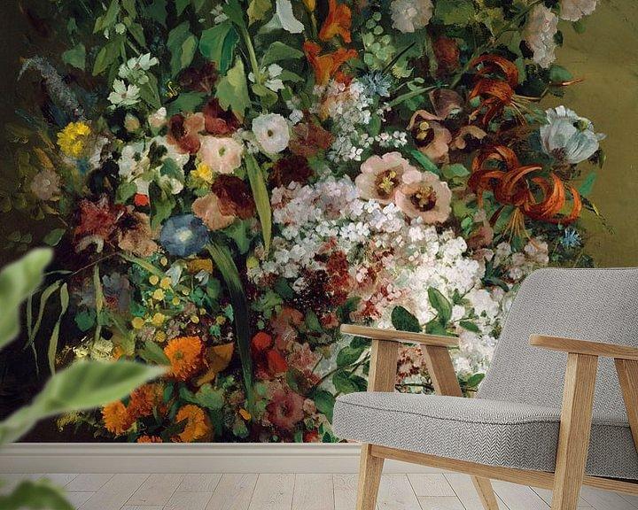Beispiel fototapete: Bouquet of Flowers in a Vase, Gustave Courbet