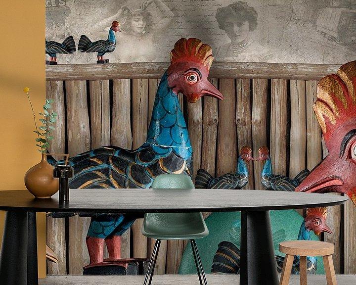 Beispiel fototapete: Freilaufende Hühner sind immer glücklich von Erich Krätschmer