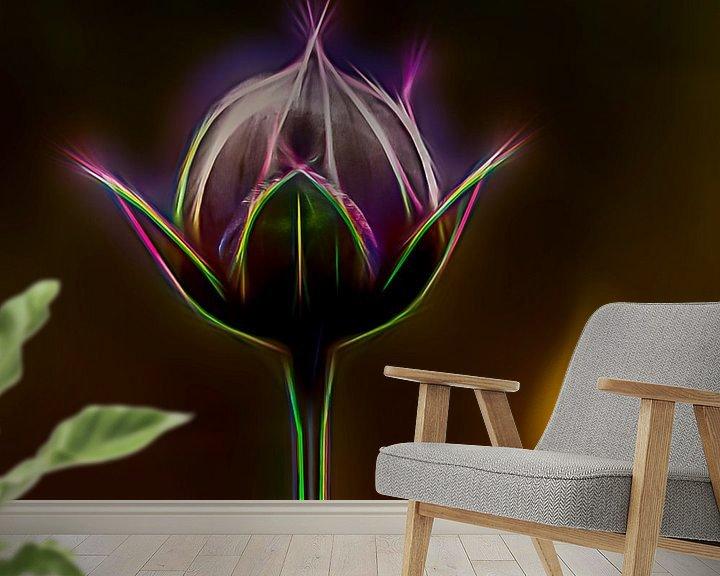 Sfeerimpressie behang: bloemknop van Dick Jeukens