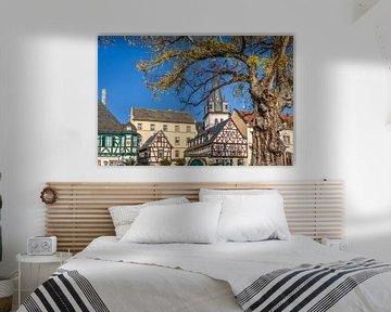 Historische Fachwerkhäuser an der Uferpromenade von Oestrich van Christian Müringer