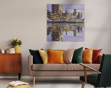 Wasser Reflexion Hotel New York, Rotterdam von Frans Blok
