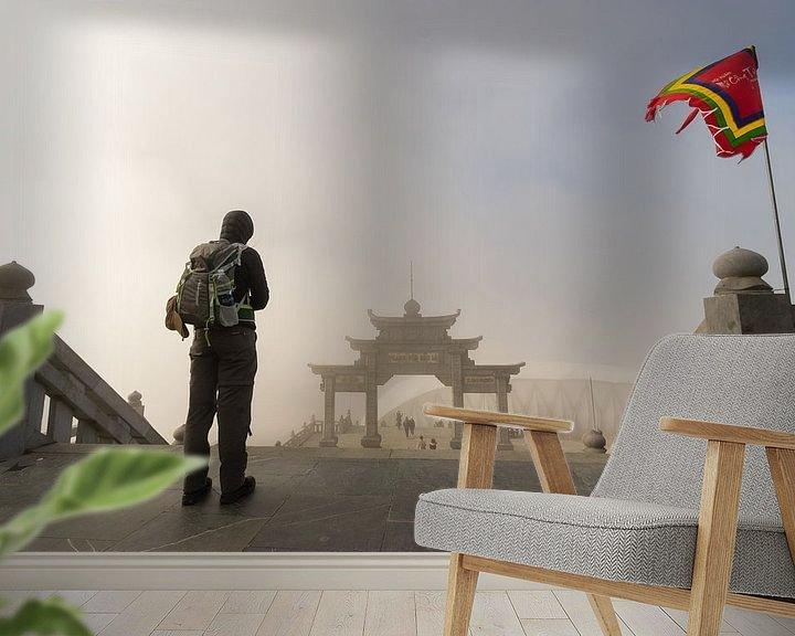Sfeerimpressie behang: Op weg naar de Poort - Fansipan, Sa Pa, Vietnam van Thijs van den Broek