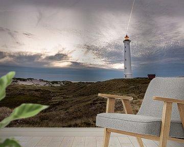 Leuchtturm Lyngvig Fyr bei Nacht van Matthias Nolde