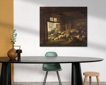 Schapen en geiten in de stal, Jan van Ravenswaay