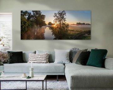 Mistige ochtend bij de Kromme Rijn op Landgoed Rhijnauwen, Provincie Utrecht, Nederland van Arthur Puls Photography