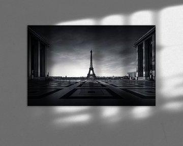 Eiffelturm Paris, schwarz - weiß von Martijn Kort
