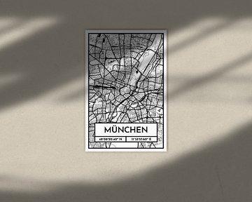 München – City Map Design Stadtplan Karte (Retro) von ViaMapia