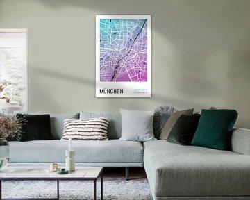 München – City Map Design Stadtplan Karte (Farbverlauf) von ViaMapia