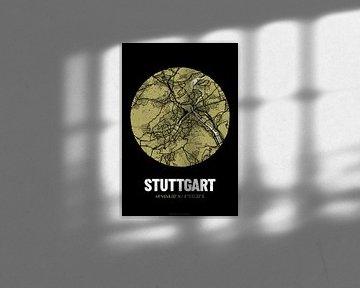 Stuttgart – City Map Design Stadtplan Karte (Grunge) von ViaMapia