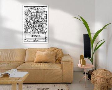 Leipzig – City Map Design Stadtplan Karte (Retro) von ViaMapia