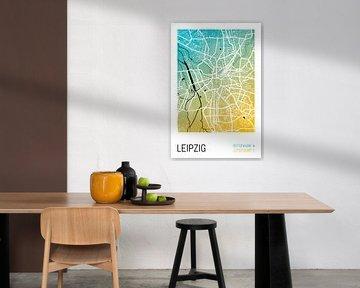 Leipzig – City Map Design Stadtplan Karte (Farbverlauf) von ViaMapia