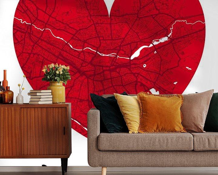 Beispiel fototapete: Nürnberg – City Map Design Stadtplan Karte (Herz) von ViaMapia