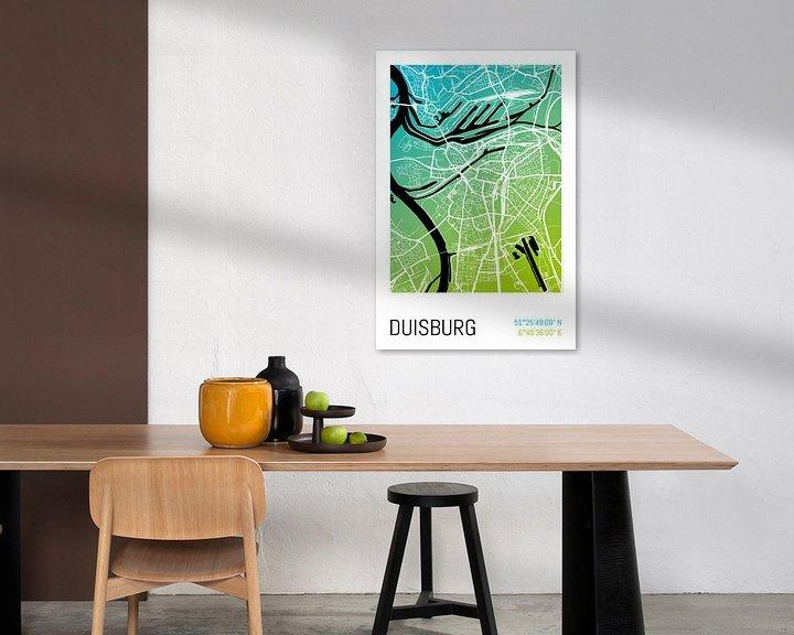 Beispiel: Duisburg – City Map Design Stadtplan Karte (Farbverlauf) von ViaMapia