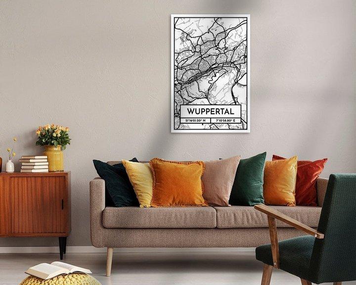 Beispiel: Wuppertal – City Map Design Stadtplan Karte (Retro) von ViaMapia