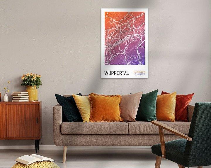 Beispiel: Wuppertal – City Map Design Stadtplan Karte (Farbverlauf) von ViaMapia