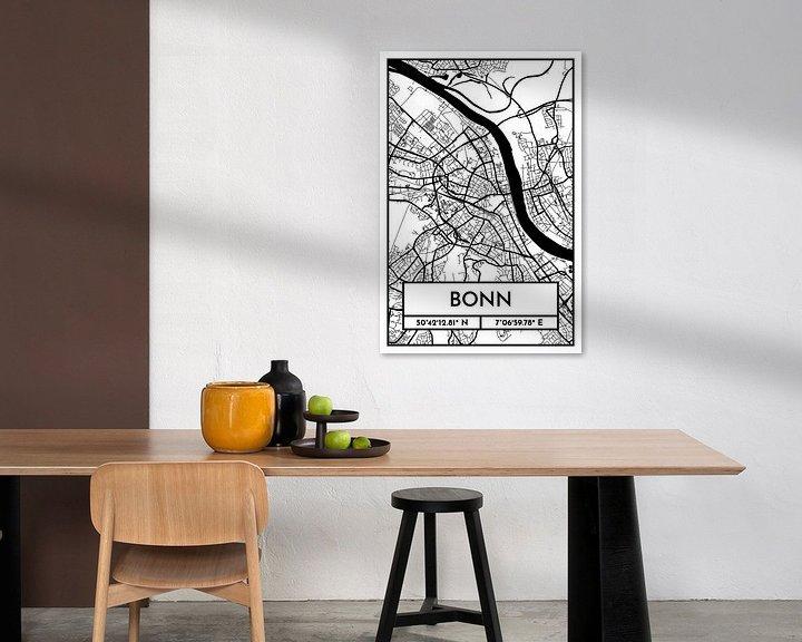 Beispiel: Bonn – City Map Design Stadtplan Karte (Retro) von ViaMapia