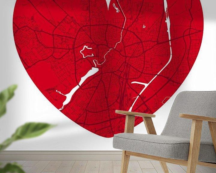 Beispiel fototapete: Münster – City Map Design Stadtplan Karte (Herz) von ViaMapia
