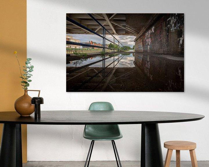 Impression: photo avec reflet du vieux pont sur la Leie à Menin, Flandre occidentale, Belgique sur Fotografie Krist / Top Foto Vlaanderen