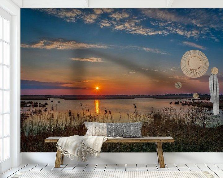 Sfeerimpressie behang: zonsondergang van Wil de Boer