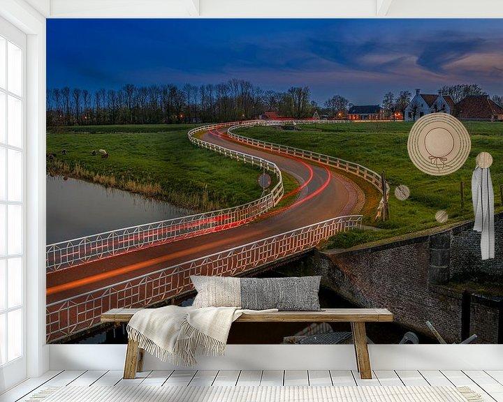 Sfeerimpressie behang: Aduarderzijl van Wil de Boer