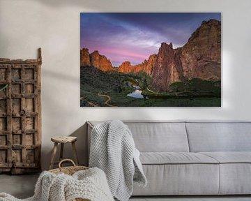 Zonsopkomst bij Smith Rock State Park, Oregon van Henk Meijer Photography