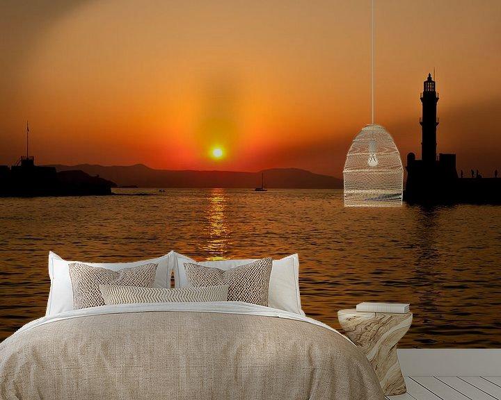 Sfeerimpressie behang: Zonsondergang in Griekenland van Andy Van Tilborg