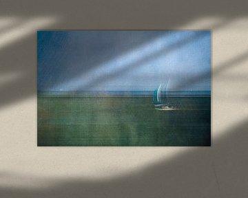 Segelboot auf dem Waddenmeer von Greetje van Son