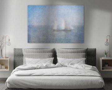 Segelboot im Nebel auf dem Waddenmeer von Greetje van Son