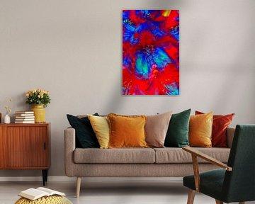 Roodblauwe rododendronbloesem, abstract, rood-blauw, rhododendron, abstract van Torsten Krüger