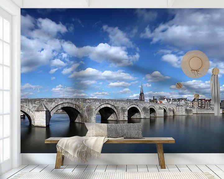 Sfeerimpressie behang: Sint Servaas brug Maastricht, kleur van Pascal Lemlijn