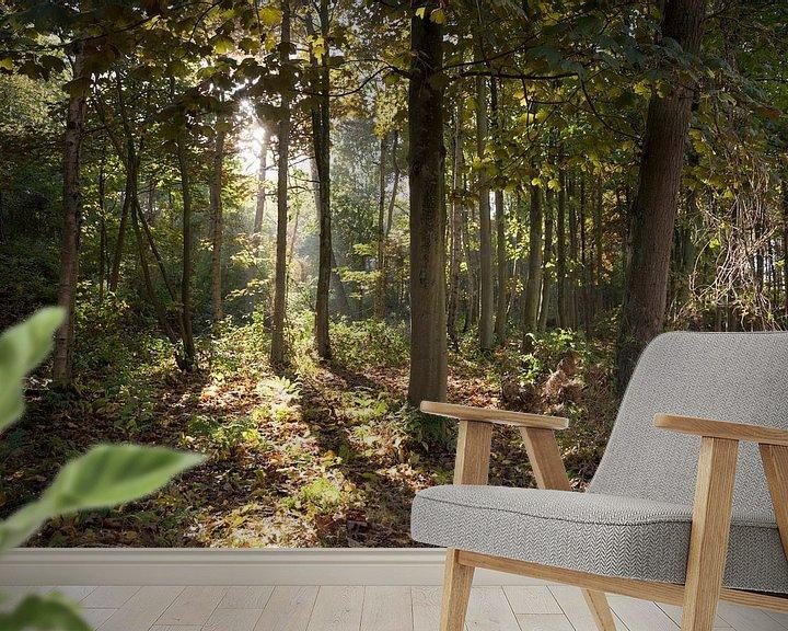 Sfeerimpressie behang: De zon door de bomen van Sander de Jong