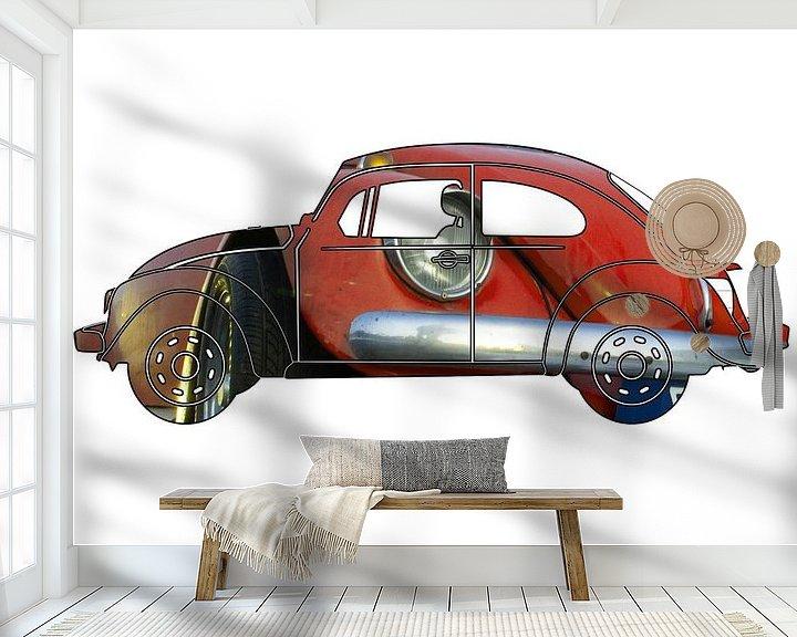 Sfeerimpressie behang: Rode Volkswagen Kever uitsnede van Jan-Loek Siskens