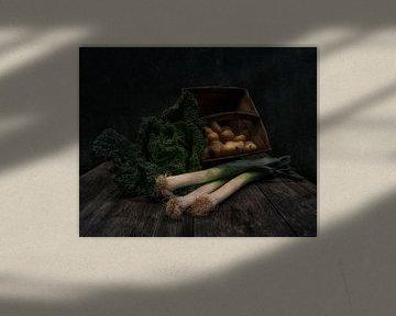 Nature morte au chou, poireau et pommes de terre sur Guna Andersone