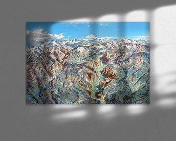 Kaart van het Nationaal Park Yosemite (zonder labels), Heinrich Berann van Creatieve Kaarten