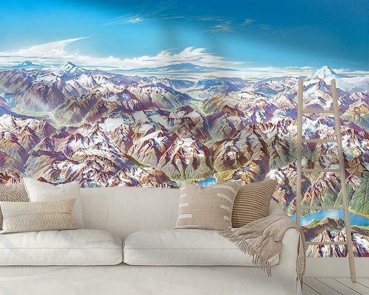 Impression: Carte des Cascades du Nord (sans étiquettes), Heinrich Berann sur Creatieve Kaarten