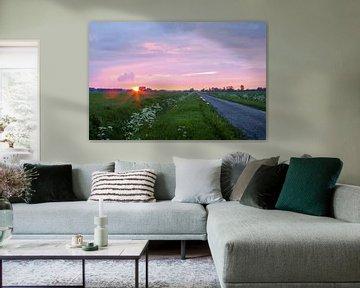 Zonsondergang in de polder van Yvonne Prinsen