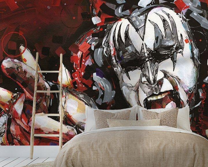 Sfeerimpressie behang: KISS, Gene Simmons kunst van Jos Hoppenbrouwers