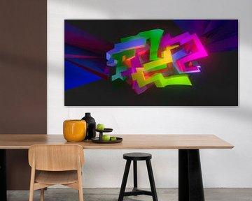 LA Tez One 5 #1 von Pat Bloom - Moderne 3D, abstracte kubistische en futurisme kunst