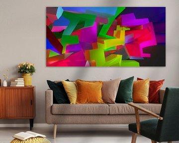 Ruimtelijk en modern 3D graffiti kunstwerk van Pat Bloom - Moderne 3D, abstracte kubistische en futurisme kunst