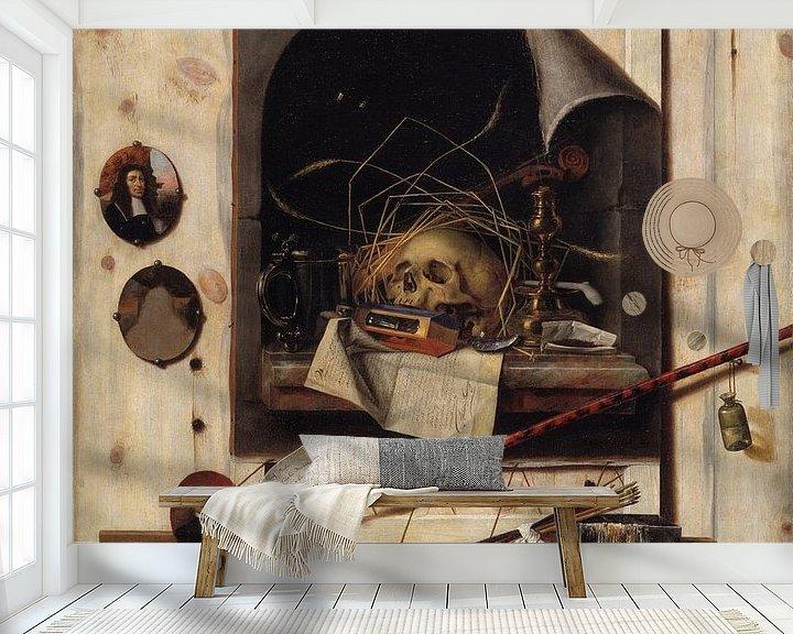 Beispiel fototapete: Trompe l'oeil mit Studio Wall und Vanitas Stillleben, Cornelis Norbertus Gysbrechts