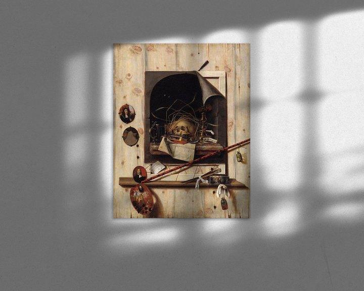 Beispiel: Trompe l'oeil mit Studio Wall und Vanitas Stillleben, Cornelis Norbertus Gysbrechts