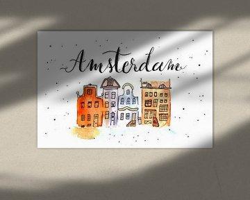 Amsterdam Handlettering Skyline van Ms Sanderz