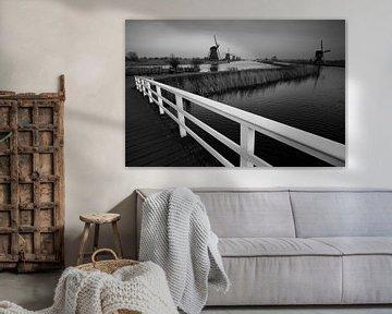 Windmühlen in Kinderdijk in schwarz-weiß von Jeroen Stel