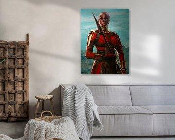 Danai Gurira as Okoye schilderij van Paul Meijering
