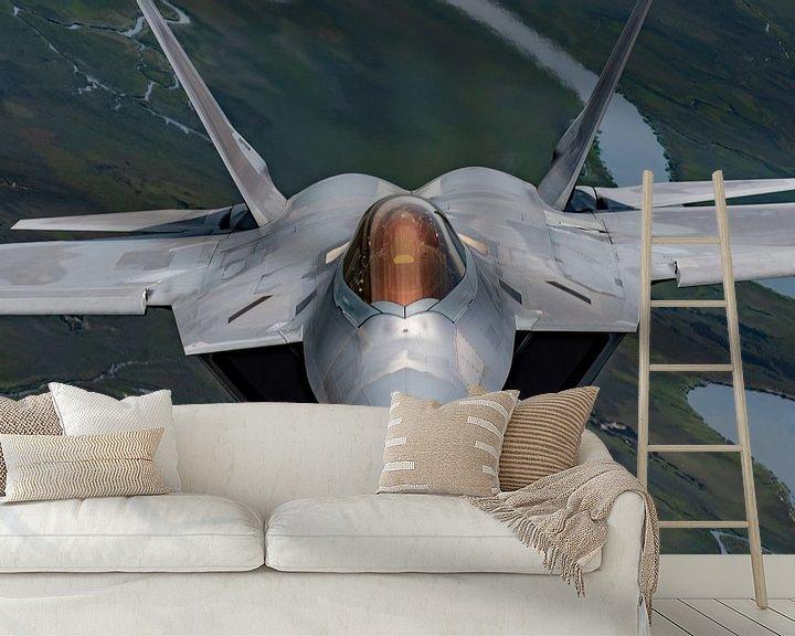Sfeerimpressie behang: F-22 Raptor U.S. Air Force Straaljager van Atelier Liesjes