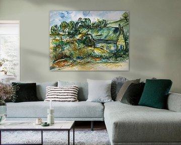 Boerenhuisjes geinspireerd door van Gogh. van Ineke de Rijk